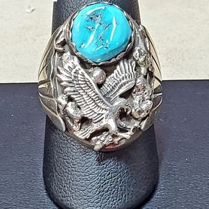 Sterling silver turquoise eagle native ring